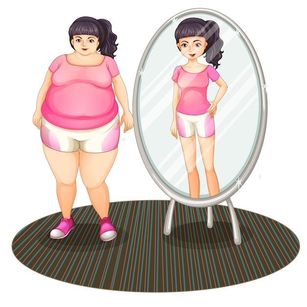 Толстая девушка и ее стройная версия в зеркале Бесплатные векторы