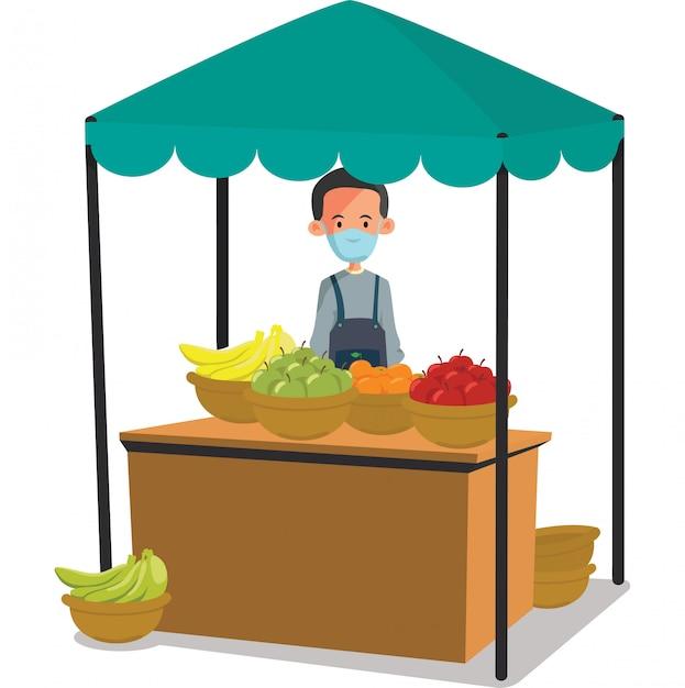 新鮮な果物のイラストを販売する新鮮な果物のベンダー Premiumベクター