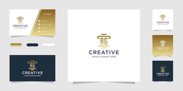 Шаблон дизайна логотипа юридической фирмы ag и визитная карточка Premium векторы