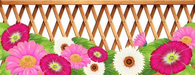 フェンスのある花の庭 無料ベクター