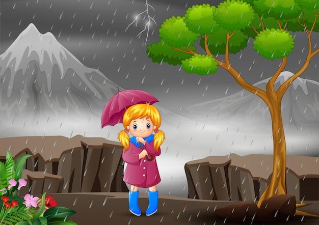 Девушка с зонтиком под дождем в лесу Premium векторы