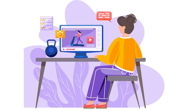 За столом сидит девушка с ноутбуком и гирей. Premium векторы