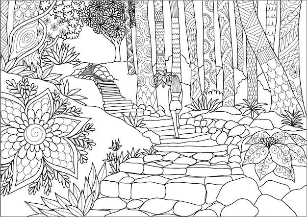 Девушка, идущая в джунглях Premium векторы