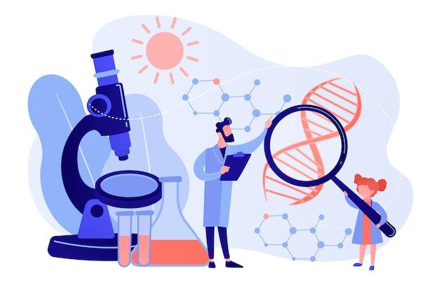 돋보기와 과학자를 가진 소녀가 실험을 수행합니다. 어린이 과학 캠프, 젊은 과학자 수업, 어린이 실험실 테스트 개념. 분홍빛이 도는 산호 bluevector 고립 된 그림 무료 벡터