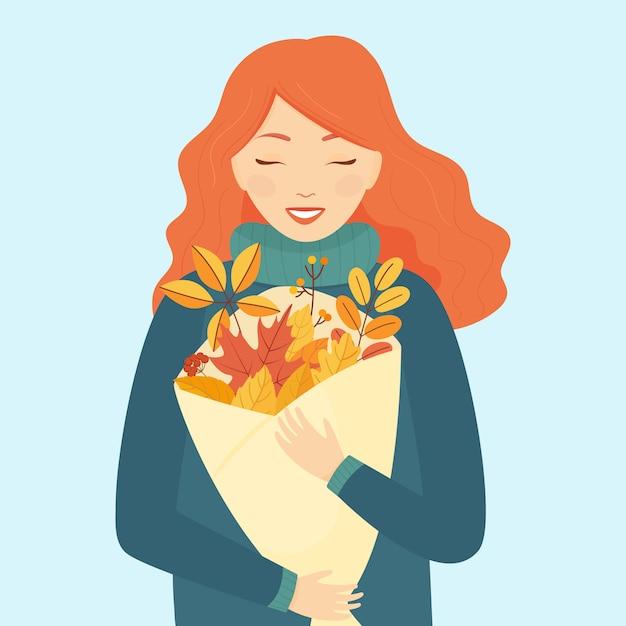 明るい青の背景に赤い髪と秋の花束を持つ少女を残します。秋のテーマ。図。 Premiumベクター