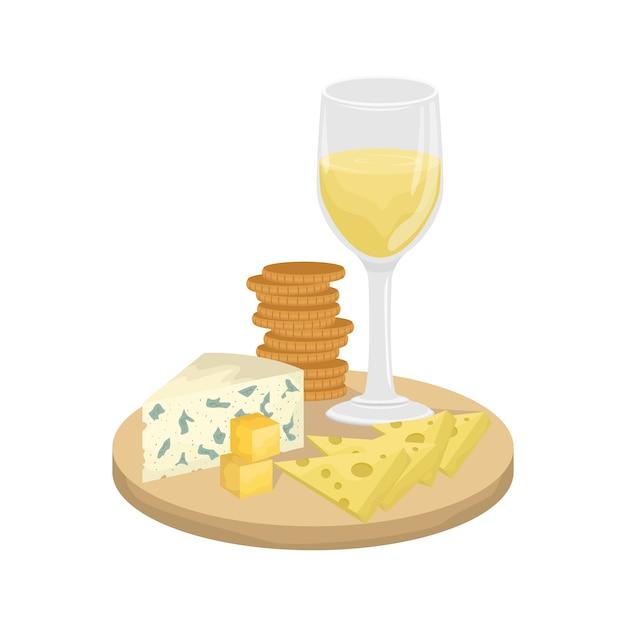 白ワインのグラス、クラッカーと木の板にチーズの盛り合わせ。マースダム、ゴーダ、ロックフォール。 Premiumベクター