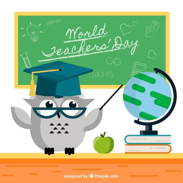 A gray owl, world teachers \' day