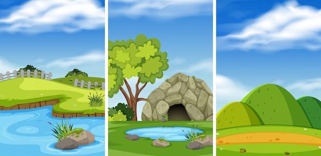 Зеленый ландшафт природы Premium векторы