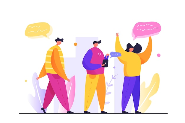 人々のグループが通りにいる、男が通りを歩いている、白い背景で隔離された電話を持つ男 Premiumベクター