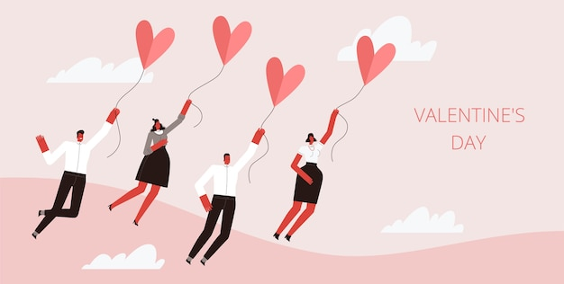 Группа людей летают в сердцах на воздушном шаре в розовом небе. изолированные на белом фоне. Premium векторы