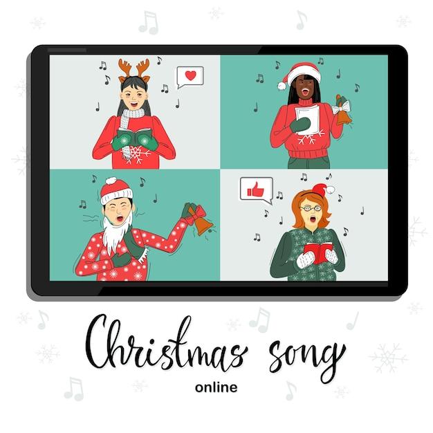 Группа людей в зимних костюмах встречается онлайн по видеоконференции. поют рождественские песни. Premium векторы