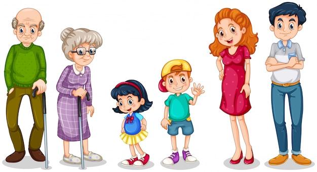 Счастливая семья с бабушкой и дедушкой Бесплатные векторы