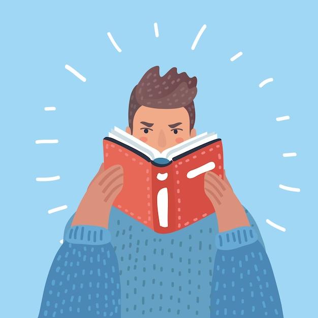 白い背景の本イラストを読んでいるひげの流行に敏感な男。縦型レイアウト。 Premiumベクター
