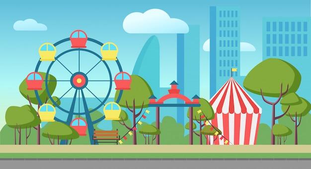 Иллюстрация общественный городской парк развлечений Premium векторы