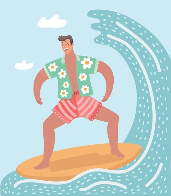 Иллюстрация человека, занимающегося серфингом в океане Premium векторы