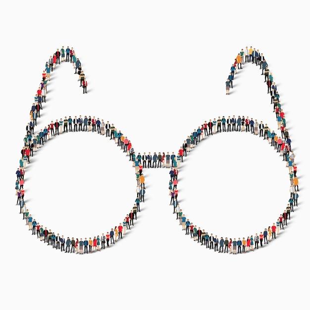 Большая группа людей в виде значка в очках. Premium векторы