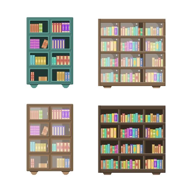 大きな図書館には、本棚の上に折りたたまれた本がいっぱいの木製本棚があります。白い背景で隔離の木製の本棚。教育ライブラリブックストアのコンセプト。 Premiumベクター