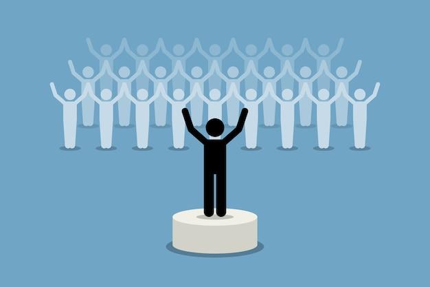 フォロワーにインスピレーションとモチベーションを与えるリーダー。 Premiumベクター