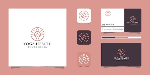 Логотип линии искусства значка человека йоги с логотипом линии будды и дизайном визитной карточки Premium векторы