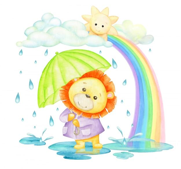 雨の中と虹の中、傘をさしたライオン。水彩のコンセプトです。漫画のスタイルの熱帯動物。 Premiumベクター