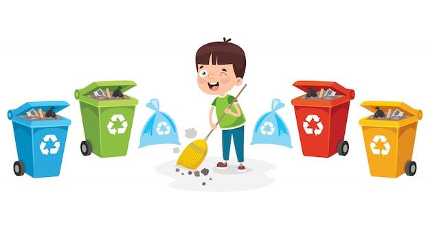 Маленький мальчик перерабатывает мусор Premium векторы