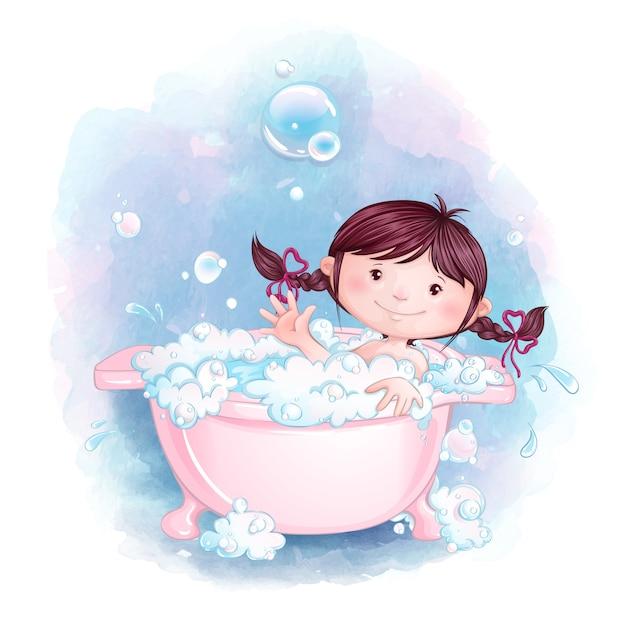 Маленькая девочка весело купается в розовой ванне с мыльной пеной и пузырьками. Premium векторы