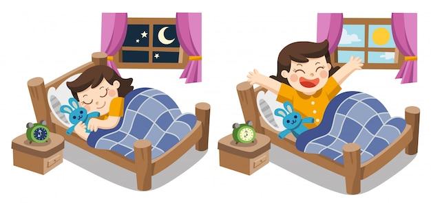 Маленькая девочка спит сегодня вечером, спокойной ночи сладких снов. и она просыпается утром. Premium векторы