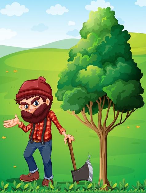 木の近くの木こり 無料ベクター