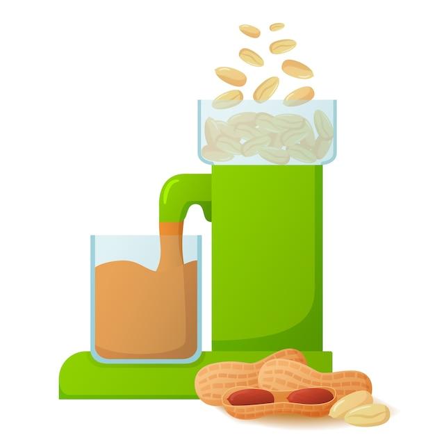 Машина готовит арахисовое масло. производство продуктов питания. Premium векторы