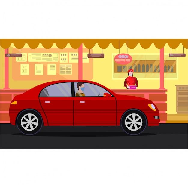 イラストを介してドライブで食事を買う男 Premiumベクター