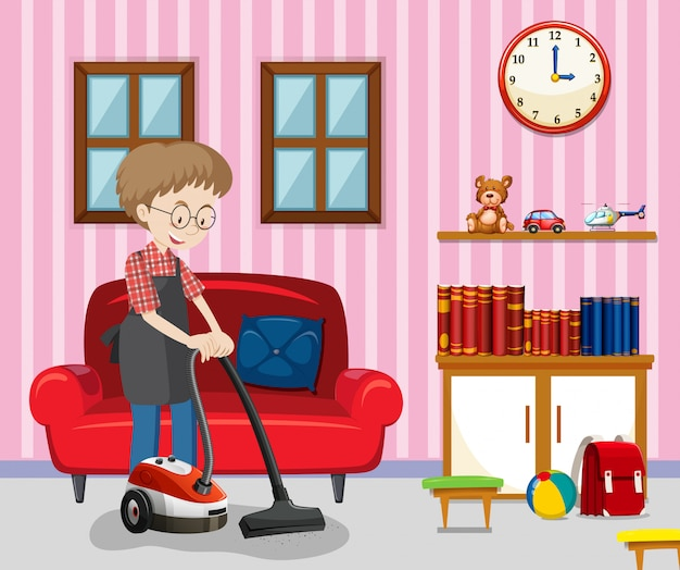 A Man Cleaning Living Room Vector | Premium Download