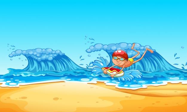 Человек наслаждается бодибилдингом на пляже Premium векторы