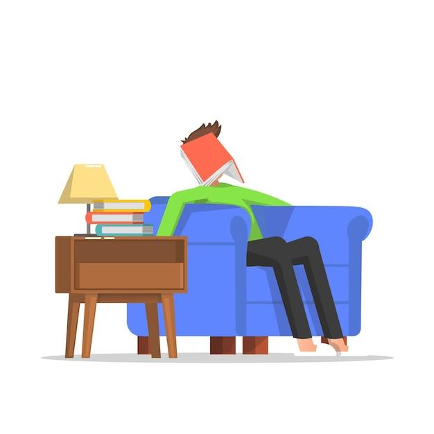 Мужчина заснул во время чтения Premium векторы