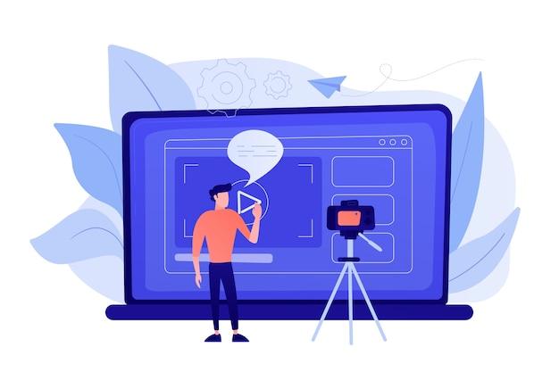 Мужчина перед камерой записывает видео, чтобы поделиться им в интернете. vloger делится брэдкастом в блоге или видеоблоге. видео-блоги, веб-телевидение или концепция встроенного видео. фиолетовая палитра Бесплатные векторы