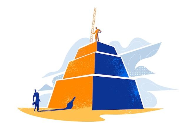 はしごでピラミッドの上に立っている男性とピラミッドの下部にいる男性が彼を見ています。 Premiumベクター