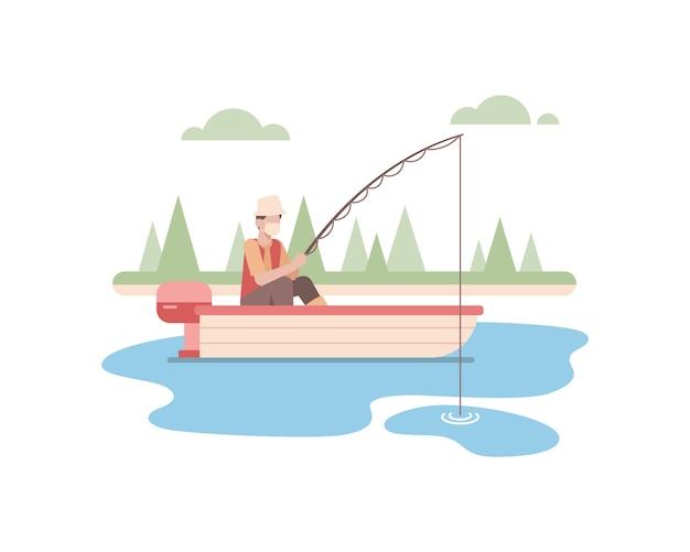 Мужчина в маске для лица и один на рыбалку на озере, используя иллюстрацию маленькой лодки Premium векторы