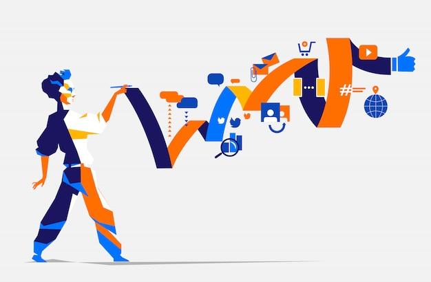 디지털 마케팅 전략을 계획하는 사람 프리미엄 벡터