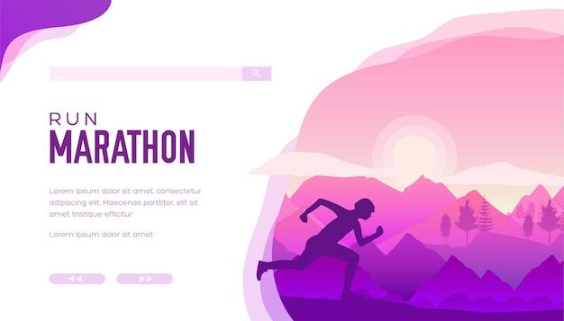Спортсмен-марафон проводит тренировку по открытой пересеченной местности Premium векторы