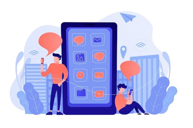 소셜 미디어 및 뉴스 피드를 확인하는 화면에 애플리케이션 아이콘이있는 거대한 스마트 폰 근처의 남성. 소셜 미디어, 뉴스 팁, iot 및 스마트 시티 개념. 벡터 일러스트 레이 션. 무료 벡터