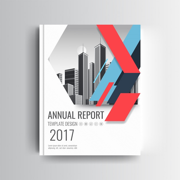 A Modern Annual Report Cover Template With Blue and Red Geometric Accent