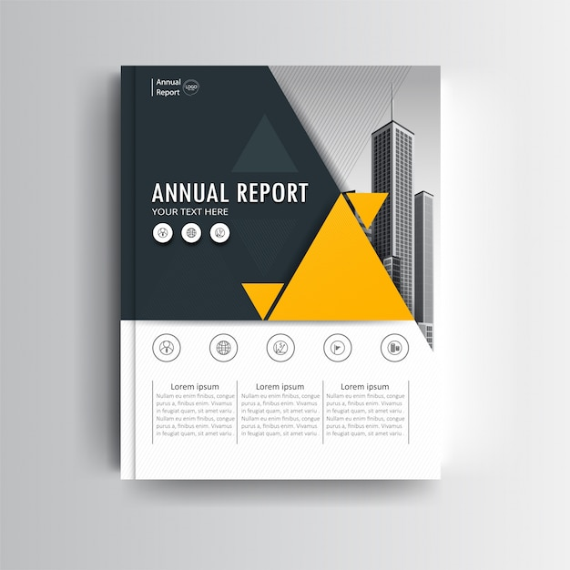 A Modern Annual Report Cover Template With Yellow Geometric Accent