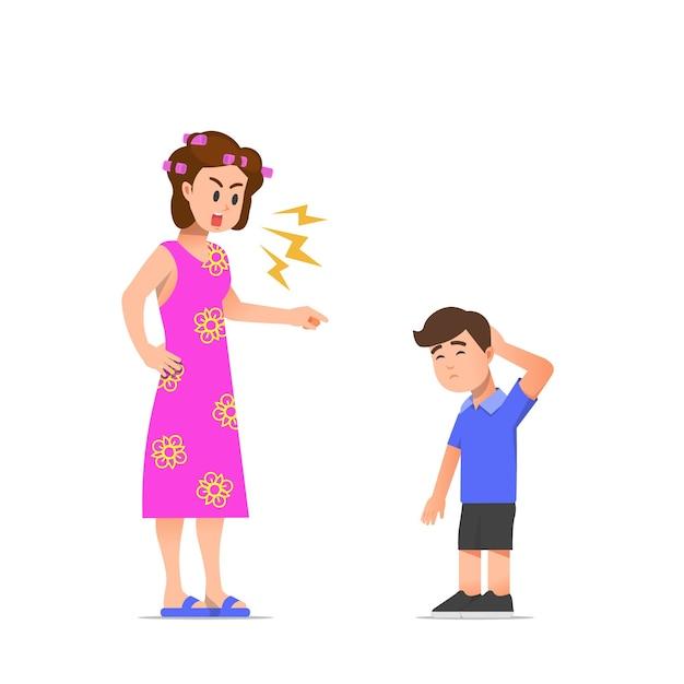 息子のイラストを叱る母親 Premiumベクター