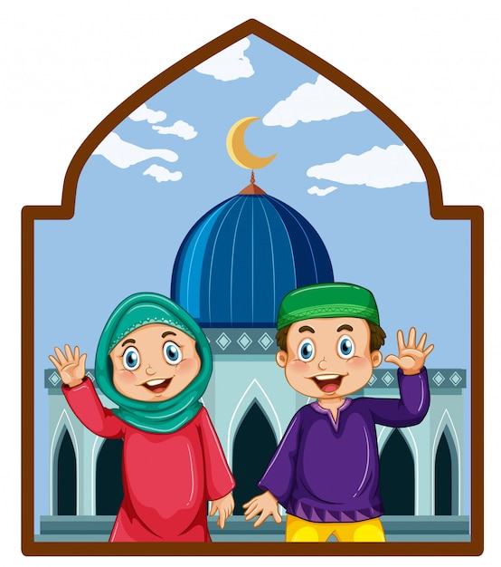 A muslim couple at mosque Free Vector