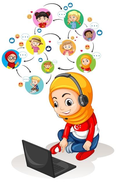 友人とビデオ会議を通信するためにラップトップを使用しているイスラム教徒の少女 無料ベクター