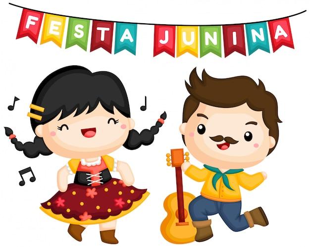 Пара, поющая и танцующая на фесте junina Бесплатные векторы