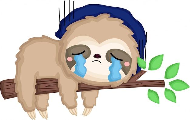 А ленивец очень грустный Бесплатные векторы