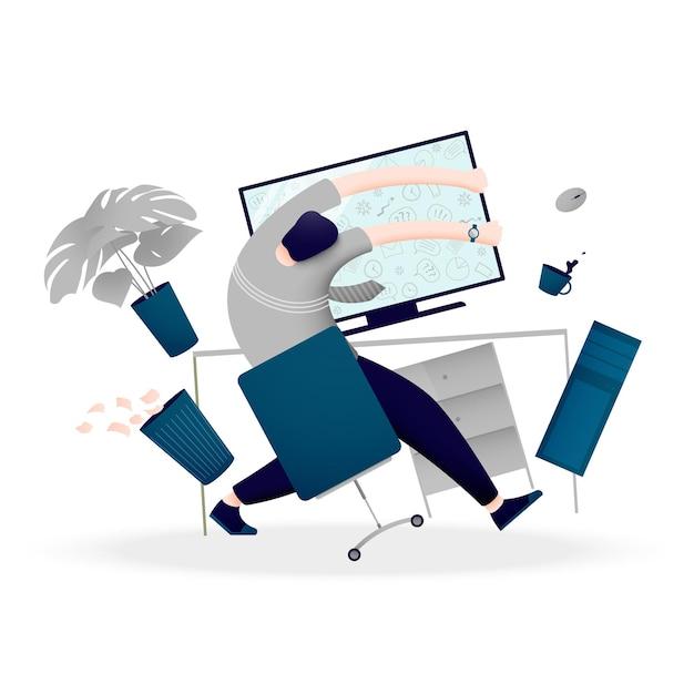 Человек перегружен большим количеством информации и данных. понятие о психическом срыве при работе за компьютером. Premium векторы