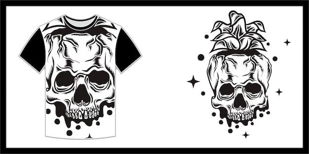 Ананасоподобный череп, дизайн футболки Premium векторы