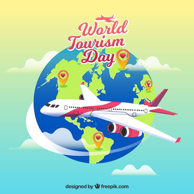 a plane trip world tourism day vector free download
