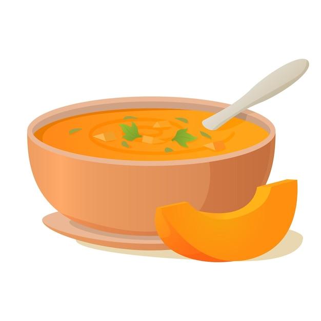 Тарелка тыквенного супа ложкой. горячий овощной суп. чаша супа. Premium векторы